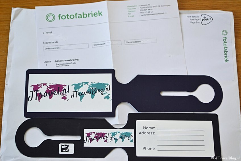 De envelop van Fotofabriek.nl met mijn kofferlabels