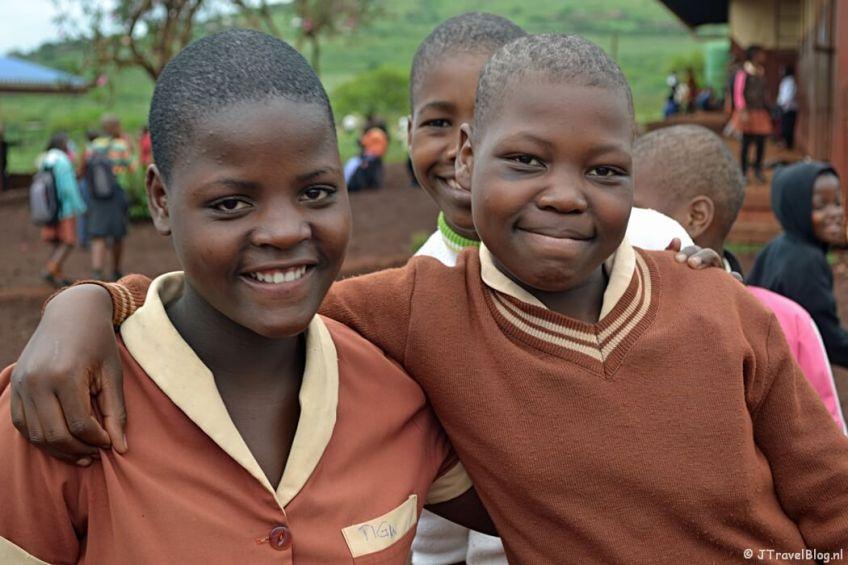 Schoolkinderen in Zuid-Afrika