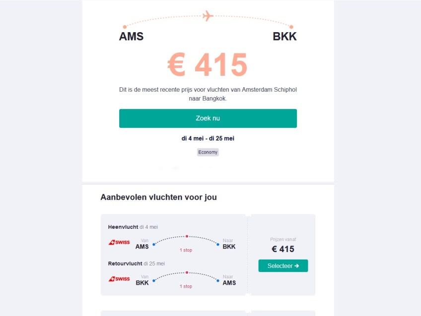 Voorbeeld van een prijsalarm van Skyscanner