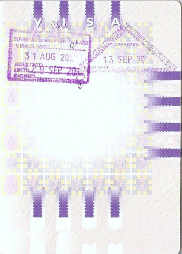 Stempels van Thailand in mijn paspoort
