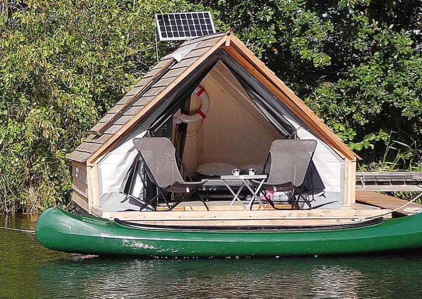 Trekkershut op een drijvend vlot in Weesp/Noord-Holland via Natuurhuisje.nl