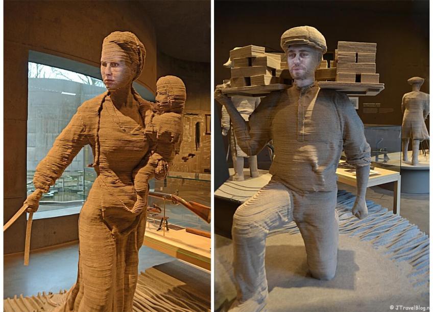 De boerin die vertelt over het rampjaar 1872 en de werkman die je laat ervaren onder welke zware omstandigheden hij in 1880 moest werken in het Waterliniemuseum bij Fort bij Vechten in Bunnik