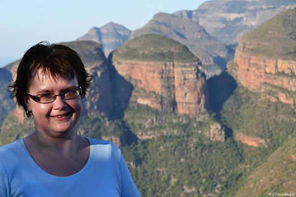 Ik bij de Drie Rondavels in Zuid-Afrika