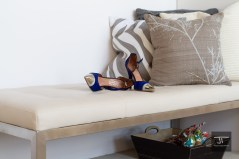 Bench, shoes and cushions
