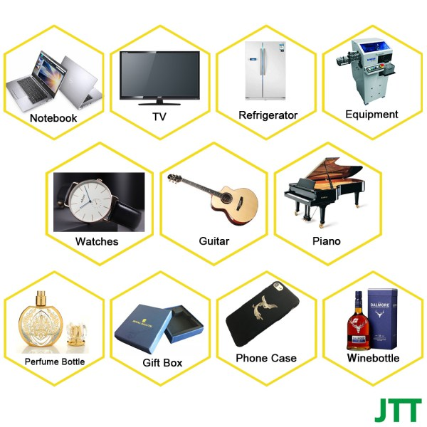 JTT application scenarios - Self adhesive custom logo design embossed electroforming 3D metal nameplate for home appliance bag luggage perfume bottle and car key