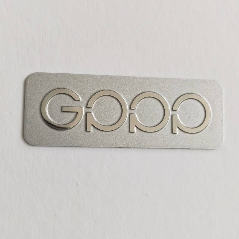 Brushed silver etched engraved sticker stainless steel adhesives etched customized sticker labels
