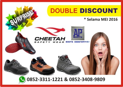 Double Discount Sepatu Safety CHEETAH & AP BOOTS All Bike, Mei 2016