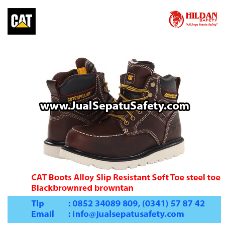 CAT Boots Alloy Slip Resistant Soft Toe steel toe, Blackbrownred browntan1