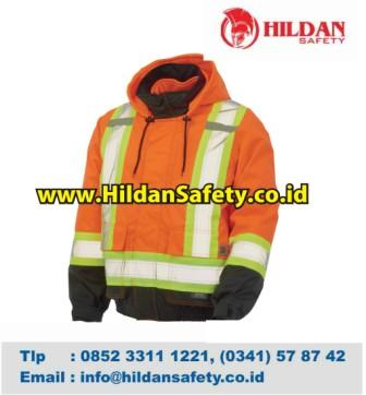 JS.004, Jaket Safety Orange Hitam Scotlight Silver Garis Hijau