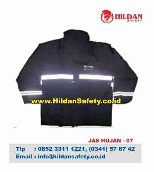 RC.007, Rain Coat Safety Hitam Skotlet Putih
