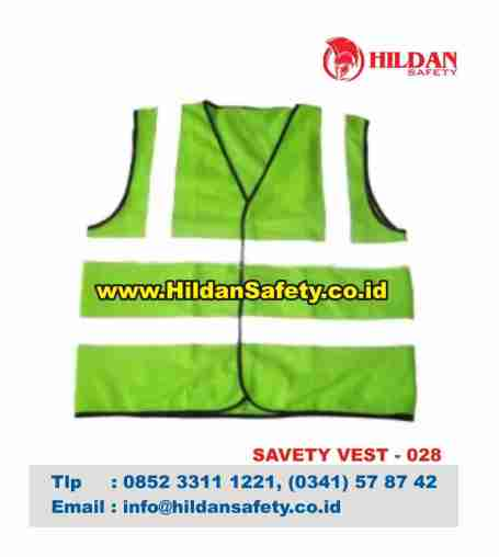 SV.028, Rompi Safety Hijau Skotlet Putih