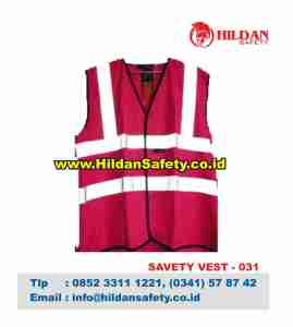SV.031, Rompi Safety Pink Garis Skotlet Silver