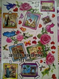 3D Frame Mawar Pink stt8015 Wallsticker ecer, grosir untuk dekor kamar, ruang tamu, kamar bayi. 085776500991-bu Eva