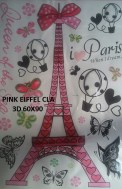 CLA068 PINK EIFEL 3D Wallsticker kamar anak, grosir untuk dekor kamar, ruang tamu, kamar bayi. 085776500991-bu Eva