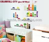 Colourfull City Glow abq9608y Wallsticker ecer, grosir untuk kamar, ruang tamu, bayi. 085776500991