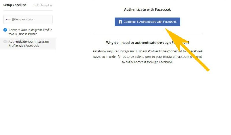 aprobar la conexión de facebook con buffer
