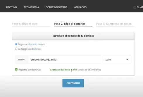 seleccionar dominio en siteground