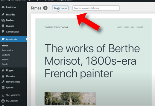 seleccionar tema de wordpress
