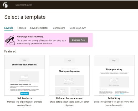 Seleccionando un template en MailChimp