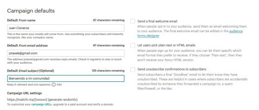 MailChimp parámetros de una campaña