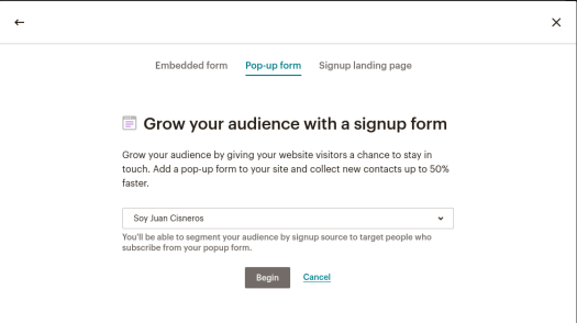 MailChimp Pop-up Form con WordPress