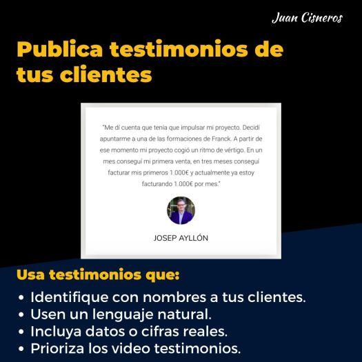 tácticas infalibles para convertir a tus visitantes en clientes publica testimonios de tus clientes
