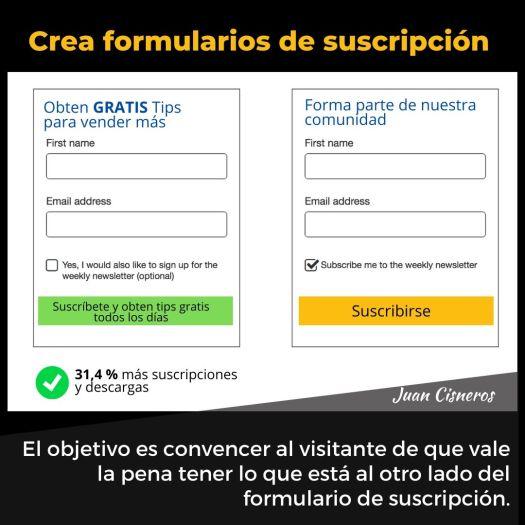 tácticas infalibles para convertir a tus visitantes en clientes crea formularios de suscripción