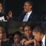Obama besa la mano de su esposa mientras la P.M danesa posa consciente del interés que despertaría días después.