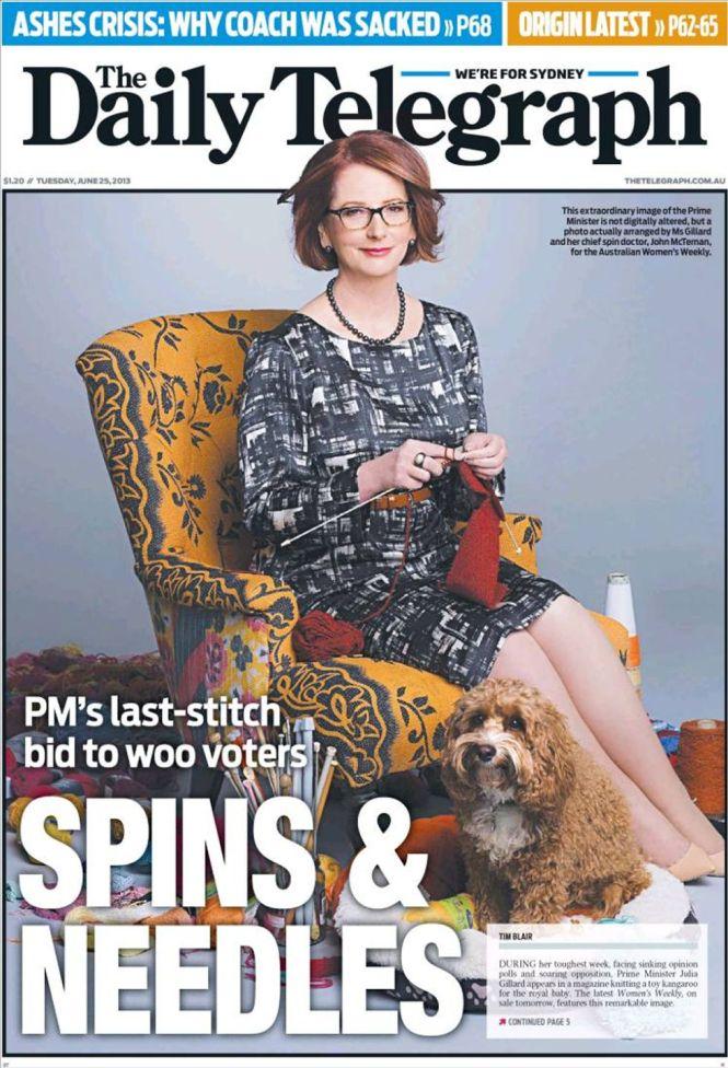 La Premier austrliana, en un intento de ganar adeptos, fue portada muy criticada en el Daily Telegraph por lo inapropiado de la actitud de una política en momentos de crisis galopante.