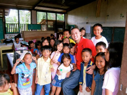 Justin's visit to a community in New Bataan Compostela Valley, where Typhon Pablo hit in December.