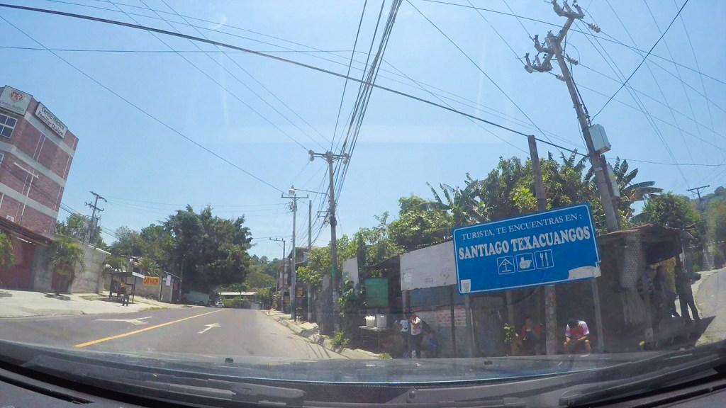 Vista de la entrada al municipio de Santiago Texacuangos