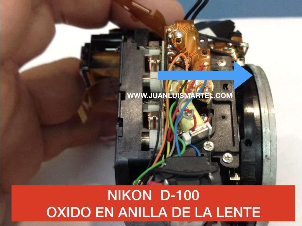 oxido en la anilla de aluminio de una camara de fotos digital