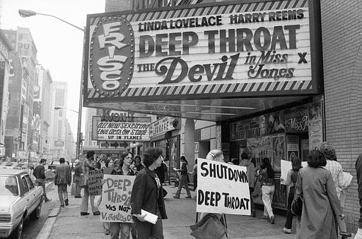 Deep Throat and The Devil in Miss Jones on a New York City theater marquee