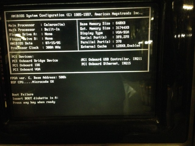 "NYC Transit Metrocard Vending Machine's ""AMBIOS System Configuration"" screen."