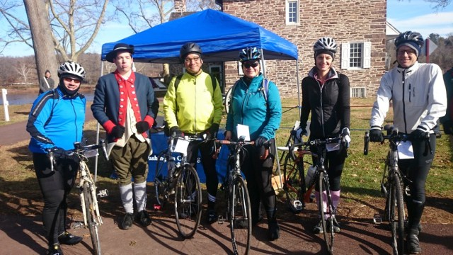 Five Cyclists and a Revolutionary War Reenactor at Washington Crossing