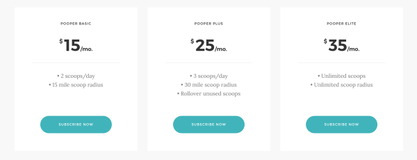 Pooper has three pricing tiers