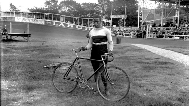 Marshall Taylor with his track bicycle