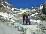 Inicio del Glaciar Blanc ó Zona de Ablación, en verde, (dónde la fusión de hielo y nieve, es más rápida que su acumulación). Cota 2.700 mts.