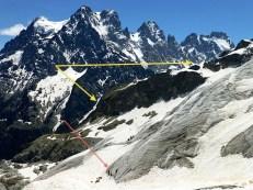 Prácticas de Cramponaje, en hielo (rojo). Valle Colgado (amarillo).