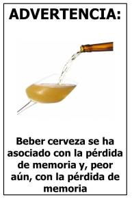 Advertencia beber cerveza