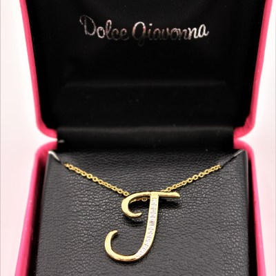 Dolce Giavonna J Diamon Initial Necklace