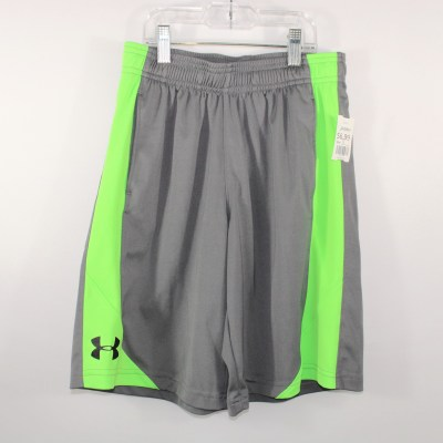 Under Armour Gray & Green Athletic Shorts | Youth Medium