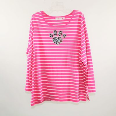 Quaker Factory By Jeane Bice Pink Striped Shirt | 2X