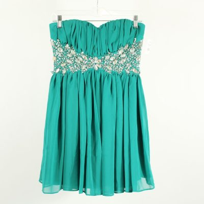 B. Smart Chiffon Teal Strapless Dress | Size 7