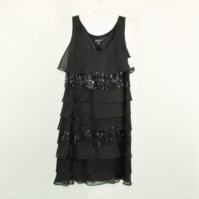 S.L. Fashions Black Sequined Tiered Dress   Size 8