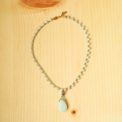 Genuine Pearl Blue Beaded Necklace