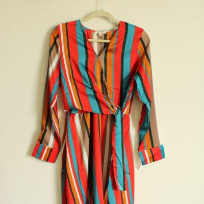 NEW Sandy & Sid Colorful Striped Wrap Dress | Size M