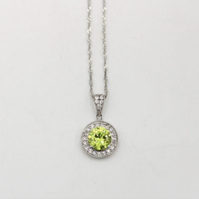 Sterling Silver Green Round Stone Necklace