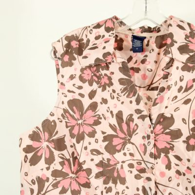 Basic Editions Pink Floral Button Down Top | Size 1X