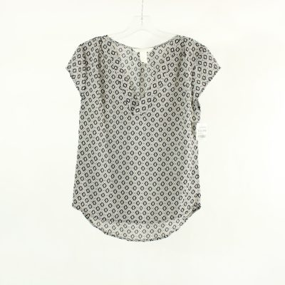 H&M Conscious Black & White Patterned Blouse | Size 2 (XS)